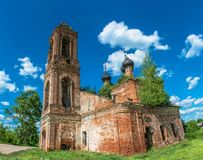 Dilapidated Orthodox Church made of red bricks, Russia. Stock Photography