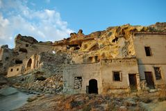 Half-ruined rocky houses in Cappadocia Royalty Free Stock Images