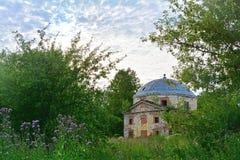 Half-ruined wing of Znamenskoye-Rayok estate (18th century) in Torzhok district Stock Photo
