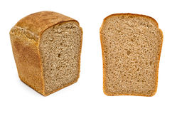 Half rye bread. Isolated on white background Stock Photos