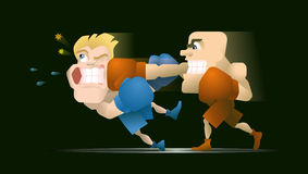 Half a second before the Knockout. Two boxing fighters, one of them punches the other stock illustration