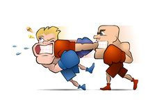 Half a second before the Knockout. Two boxing fighters, one of them punches the other vector illustration