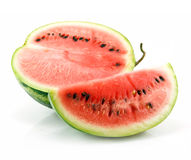Half and Section of Ripe Green Watermelon Isolated Royalty Free Stock Photography