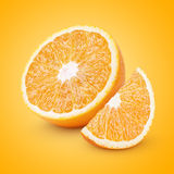 Half and slice orange citrus fruit Stock Photography