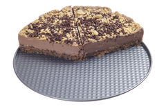 Half sliced chocolate cheesecake stock photography