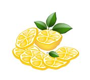 Half and Sliced of Lemon on White Background Stock Photography