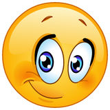 Half smile emoticon. Cute emoticon with half smile Royalty Free Stock Photo
