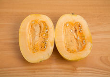 Half Spaghetti Squash with Seed Pulp Royalty Free Stock Image