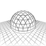 Half sphere in grid line perspective drawing  Stock Images
