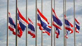 Half staff Thai flags Royalty Free Stock Images