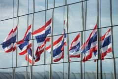 Half staff Thai flags Stock Photo