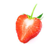 Half of strawberry isolated on white background. Red berry strawberry isolated on white background royalty free stock images