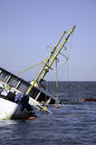 Half of Sunken Boat Passengers. Passenger ferry ran aground on the pier Stock Photos