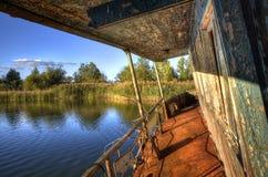 Half-sunken boat in Pripyat Stock Photo