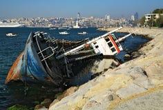 Half-sunken ship in Istanbul Stock Photos