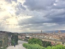 Half Sunny ,Half Cloudy in Florence stock photos