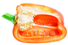 Half of sweet bell pepper isolated on white Royalty Free Stock Photos