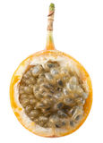 Half of sweet granadilla or grenadia isolated on the white backg Royalty Free Stock Photo