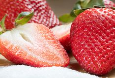 Free Half. Sweetness. Strawberry. Sugar. Red. Fruits Stock Photo - 142685110