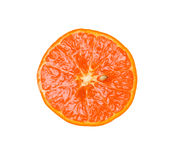 Half of tangerine. Section of ripe tangerine. Isolated on white background Royalty Free Stock Images