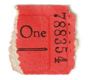 Half of a Ticket. Half of a red ticket isolated on a white background Stock Photography