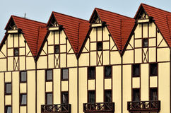 Half-timbered architecture. Fishing Village, Kaliningrad, Russia. Fishing Village - ethnographic, trade and handicraft center. Kaliningrad (before 1946 royalty free stock images