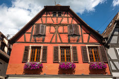 Half-timbered architecture in Obernai, France Royalty Free Stock Photo