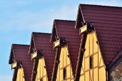 Half-timbered Architektur Fischdorf, Kaliningrad, Russland Stockfotografie