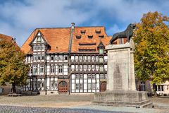 Half-timbered building and statue of Leon in Braunschweig Royalty Free Stock Photos