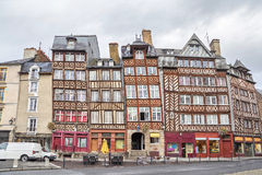 Half-timbered buildings in Rennes Stock Images