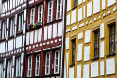 Half-timbered colorful house. Half-timbered traditional facade in the old city of Nuernberg Stock Images