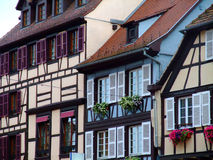 Half-timbered de fachadas de las casas Imagen de archivo