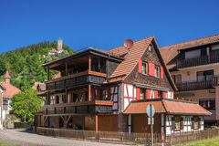 Half-timbered ensemble with the historic castle Liebenzell Royalty Free Stock Photography