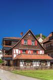 Half-timbered ensemble with the historic castle Liebenzell Royalty Free Stock Image