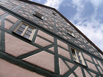 Half-timbered. Facade of the house on the street of the old town in Germany Stock Image