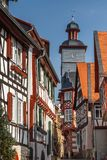 Half-timbered facades of Heppenheim old town. HEPPENHEIM / GERMANY - MARCH 2015: Half-timbered facades of Heppenheim old town, Germany Royalty Free Stock Images
