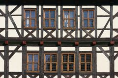 Half-timbered front with windows Stock Photos