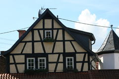 Half-timbered house. Partial view of house with  half-timbered Royalty Free Stock Photos