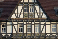 Half-timbered house. On a market place in Germany in the morning sun. Technical details: Canon EOS 300D, 75-300mm lens at 75mm, 1/125s, f/7.1, 100 ASA, tripod stock photos