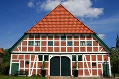 Half-timbered house. Front of an half-timbered house in the old land near hamburg Stock Photography