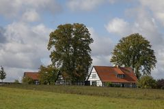 Half-timbered house in autumn, Georgsmarienhuette, Osnabrueck country, Lower Saxony, Germany Stock Photos