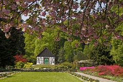 Half-timbered house in the botanic garden, Germany Royalty Free Stock Image