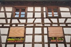 Half-timbered house close-up, Colmar, France Royalty Free Stock Image
