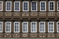 Half-timbered house. Detail view of a half-timbered house in Goslar Stock Image