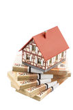 Half-timbered house on euro banknotes Stock Photo