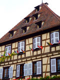 Half-timbered house facade in Alsace - Obernai Stock Photography