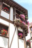Half timbered house with flowers,Candeleda,Spain Royalty Free Stock Photos
