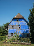 Half-timbered house, France. Blue stucco half-timbered house in france Royalty Free Stock Photography