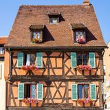 Half timbered house 1. Half timbered house in Colmar city, Alsace France Royalty Free Stock Images