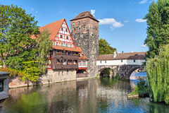 Half-timbered house and Henkerturm tower Royalty Free Stock Photography